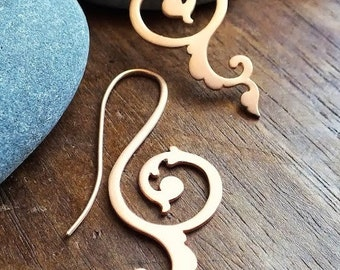 happiness of being threader earrings in 24kt gold vermeil - yellow or rose gold historical scrollwork earrings