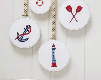 Cross stitch kit NAUTICAL - cross stitch,needlepoint,beach,anchor,coastal,wall hanging,embroidery,scandinavian,diy,blue,Anette Eriksson