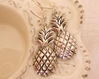 Silver Pineapple Earrings Hawaii Earrings Fashion Earrings Cute Earrings Fruit Earrings Cute Earrings Summer Earrings Vintage Handmade