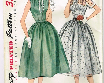 Original 1950's Party Dress Pattern with Ruffles and Full Skirt Size 14 Simplicity 3887 FACTORY FOLDED