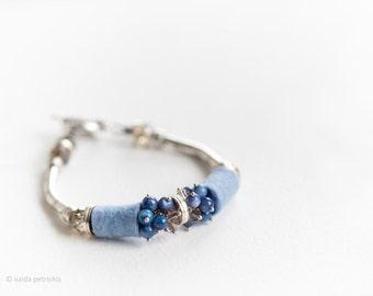 Metallic blue bracelet with metal handmade felt Mother of pearl beads Light elegant casual style unusual something blue