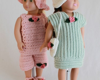 Summer Outings Outfits for 18 Inch Dolls Crochet Pattern PDF