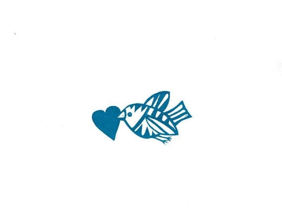 Flying Bird With Heart Rubber Stamp,Give your Valentine that instant 'POW' effect, African Style,Hand Carved Bird Will Fly Into Your Heart,