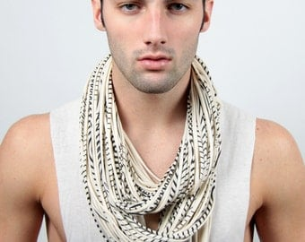 Mens Scarf, White Scarf, Gift For Him, Mens Necklace, Man Clothing, Man Scarf, Infinity Scarf, Sexy, Hipster, Boyfriend, Birthday, Festival