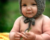 Organic Baby Wool Pixie Bonnet - Hand Knit Eco Friendly