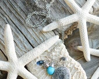 Antique Silver Long Locket Initial or Monogram Necklace with Swarovski Briolette