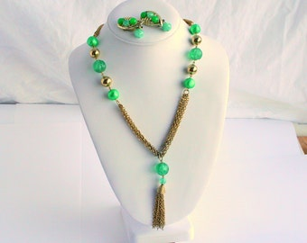 Multi Chain Tassel Necklace Earrings Set Vintage Green Bead Accents Multichain Multi Strand