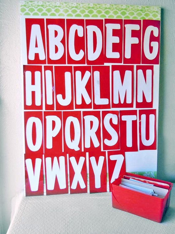 141 Large Capital Letters ABC Alphabet Initials Sign Making Store Display Vinyl Red White diy Banner Making