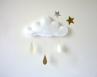 1 Rain Cloud Mobile Nursery Children Decor- Spring  rain Cloud Mobiles for nursery by The Butter Flying