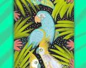Parrot Jungle Original Miniature Painting on a Playing Card