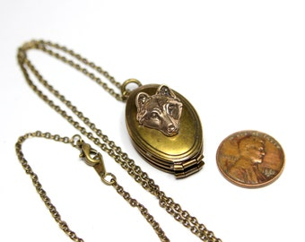 Bronze Wolf Locket Necklace Wolf Face on Brass Locket 017