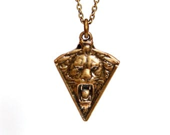 Lion Gargoyle Necklace in Solid Bronze Guardian Gargoyle 294