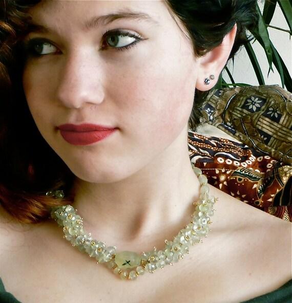 Summer Haze -- Misty Green Prehnite and Gold Vermeil handlinked choker