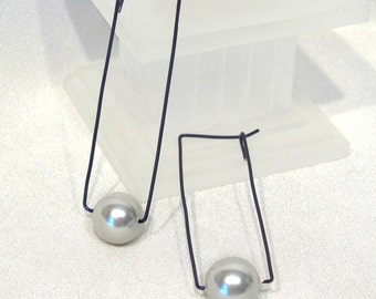 Blue Wire Squared Hoops with Large Faux Pearl Dangle Earrings - E155