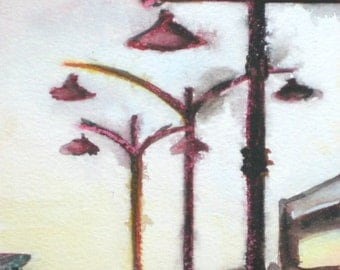 Blackbirds, by Rowena Murillo a limited edition print 2/50 of watercolor cityscape on paper