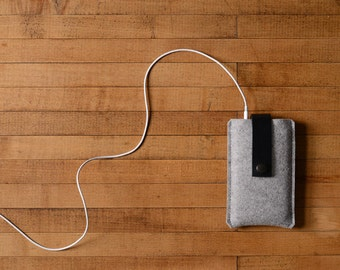 iPhone Case - Grey Wool Felt and Black Leather