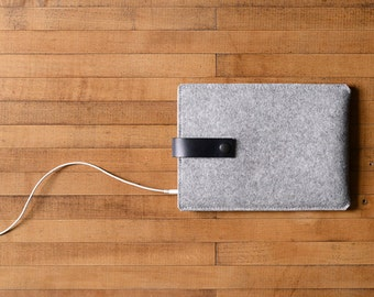 iPad Mini Sleeve - Grey Felt and Black Leather