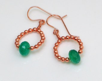 Emerald Green and Copper Hoop Dangles, Irish Green Onyx on Handmade Artisan Earrings, Bright Shamrock Green, St Patricks Day, Ready to Mail