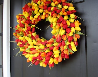 Spring Wreath- Mothers Day Gift- Door Wreath- The Original Spring Tulip Wreath- 18 inch, custom colors