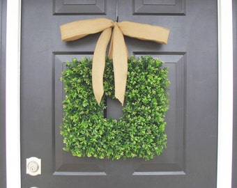 Burlap Bow Boxwood Wreath, Cottage Chic Decor, Spring Wreath, Housewarming Gift, Kitchen Decor, Shabby Chic Decor, Burlap Ribbon- 16 INCH