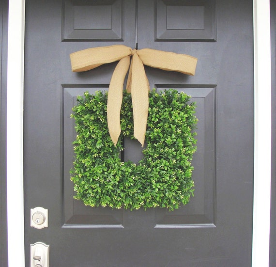 Square Boxwood Wreath- Spring Wreath- Housewarming Gift- Kitchen Decor- Shabby Chic Wreath- Cottage Chic- 16 INCH THIN Wreath for Storm Door