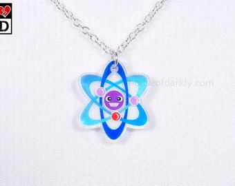 Adorable Atom translucent acrylic necklace on silver chain for science fans