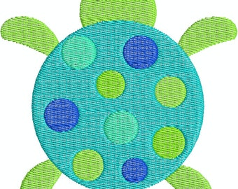 Cute Turtle with dots Machine Embroidery Design 4x4 Hoop Instant Download