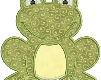 Applique Frog Toad Machine Embroidery Designs 4x4 & 5x7 Instant Download Sale