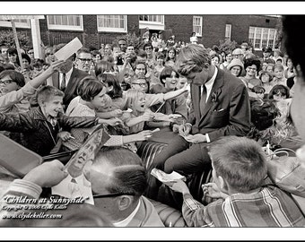 Robert F. Kennedy, RFK With CHILDREN, Clyde Keller photo, Sunnyside, Portland, Oregon, 16x20 inch Fine Art Print, Black and White, Signed