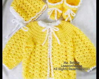PDF Crochet Baby Sweater, Bonnet & Booties - 3 Piece Layette Pattern 492 - Size 6 Mo. and 1 Yr. - Instant Download