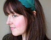 Feather Headband-  Beautifully Unique Silk Fabric Feather- Teal-Blue Silk with Turquoise, Teal, and Darkest Teal Blue Embroidery