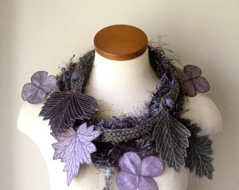 Leaf Scarf- Gunmetal Grey with Periwinkle, Black, Lavender, and Grey Embroidered Leaves- Fiber Art Scarf