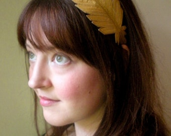 Feather Headband- Sunglow Yellow Silk with Dark Goldenrod, Amber Yellow, and Maize Embroidery