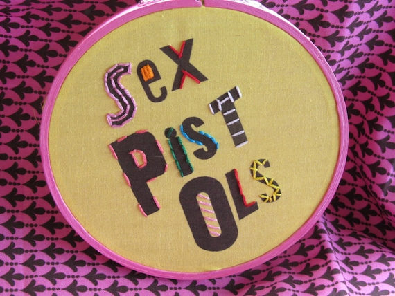 "Anarchy in the U.K. English Punk Band The Sex Pistols Hand Embroidery 5"" Hoop Art"