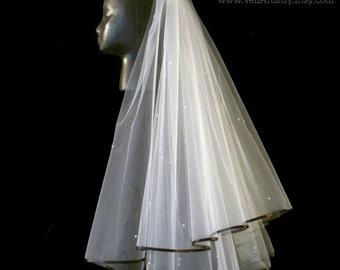 Short Wedding Veil, Radiance Veil, Waist Veil, 2 Tier Veil, Black Ribbon Veil, Swarovski Crystals, Made-to-Order Veil, Handmade Veil