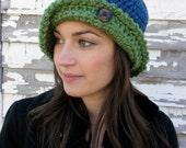 Women's Crochet Flapper Hat/Cloche - Blue and Green
