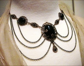 Romantic Dark Victorian Antiqued Filigree Swag Chain Necklace, Medieval Jewelry, Renaissance Wedding, Tudor Costume, Gothic, Garb, Drucilla
