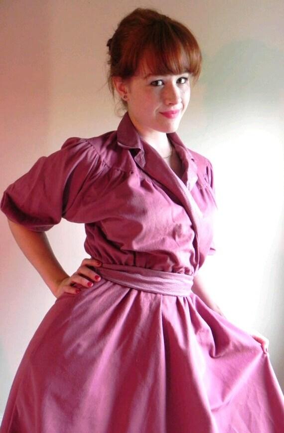 SALE: 70s Mauve UltraSuede A-Line Dress (small adjustable) Lucy // Vintage Waist dress // A-Line Faux Wrap Dress