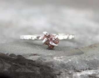 Raw Uncut Rough Diamond Solitaire and 925 Sterling Silver Soltaire Ring -  Rustic Styled Engagement Ring - Gemstone Ring - April Birthstone