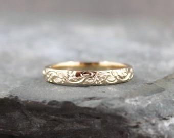 14K Yellow Gold Wedding Band - Design Band - Stacking Ring - Pattern Wedding Band - Yellow Gold Wedding Band