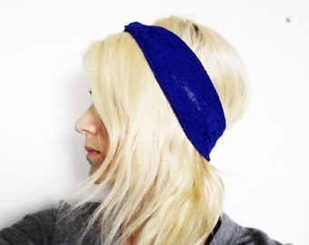 Lace Turban Headband in Royal Blue, Ready to Ship, Gift for Teen Girls