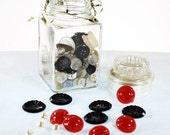 100 plus Vintage Button Lot in Vintage Glass Jar - Mod Mix - For Crafting and Repairs