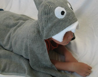 Shark Hooded Bath Towel - Fun at the beach or pool  -  Great baby shower or Birthday Gift