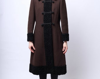 1960s Chenonceau Princess Coat in Chocolate Brown and Black Trim M