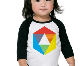 Color Wheel Raglan Shirt, bright white long sleeve t-shirt for toddler, and youth. Rainbow colors. originial Little Lark design