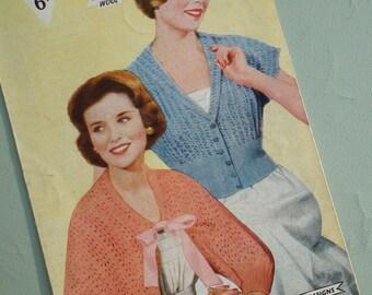Vintage 1940s 1950s Knitting Pattern Womens Bedjacket Wrap Cardigan Lacy Design 40s 50s original pattern