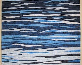 Reflections on a Blue Day - Art Quilt - 29 x 39 inches