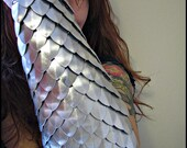 SILVER Scalemail full arm bracer DragonScale chainmail armor LARP gauntlet