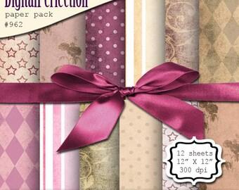 "INSTANT DOWNLOAD Digital Paper Pack - Pink Brown Sepia - Polka Dots Stripes Stars 12"" Sheets - DigitalPerfection Paper Pack 962"
