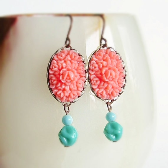 Pink Rose Bud Earrings Vintage Carved Flower Cabochons Coral Pink Aqua Floral Dangles